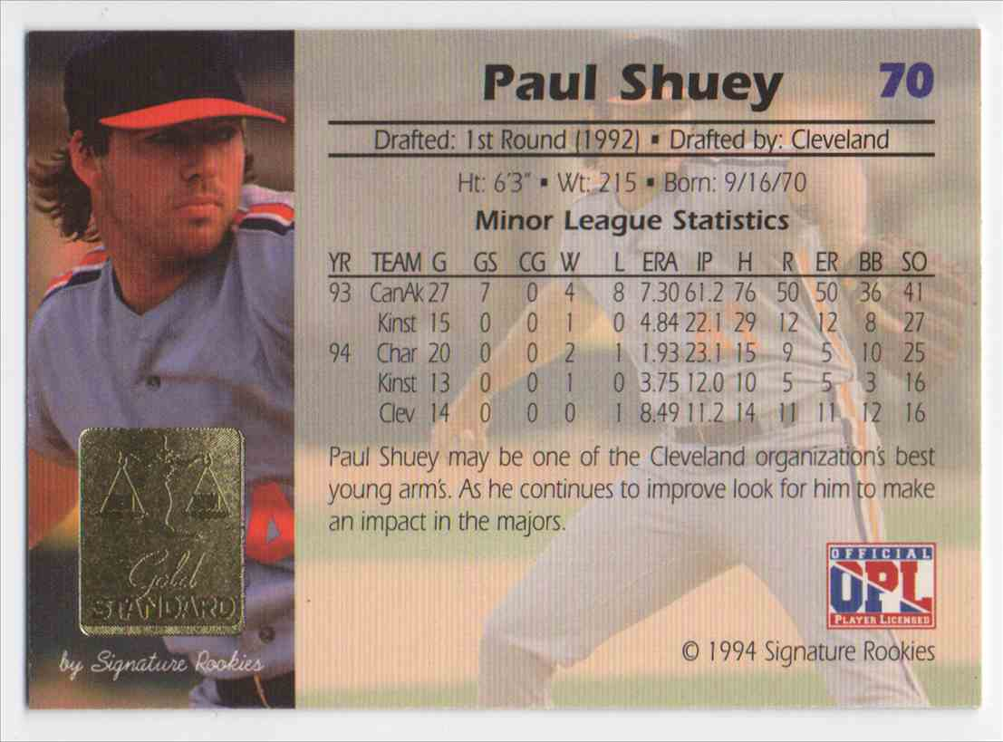 1994 Signature Rookies Gold Standard Paul Shuey #70 card back image