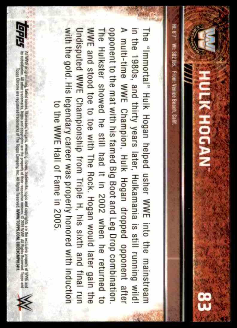 2015 Topps Chrome Wwe Wrestling Hulk Hogan #83 card back image