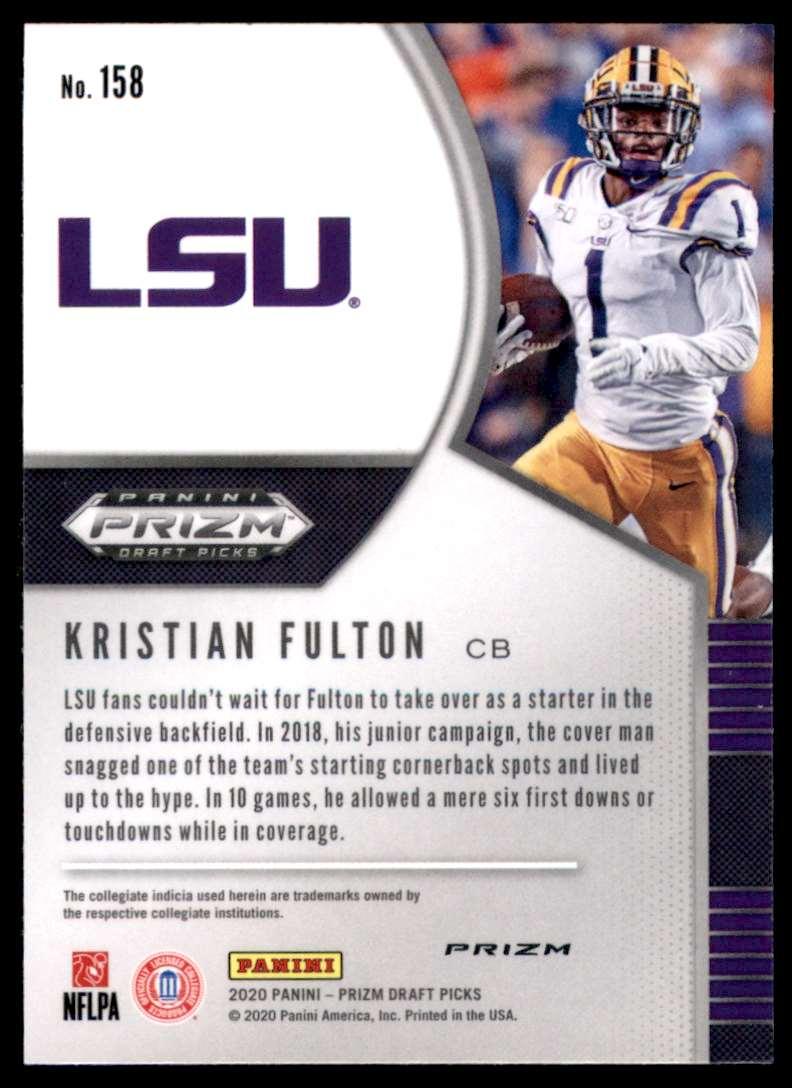 2020 Panini Prizm Draft Picks Prizms Silver Kristian Fulton #158 card back image