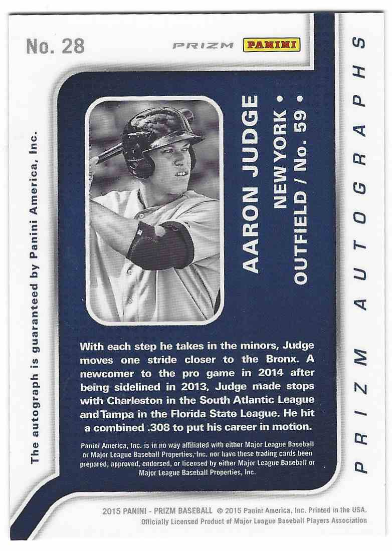 2015 Panini Prizm Prizm Autographs Aaron Judge #28 card back image