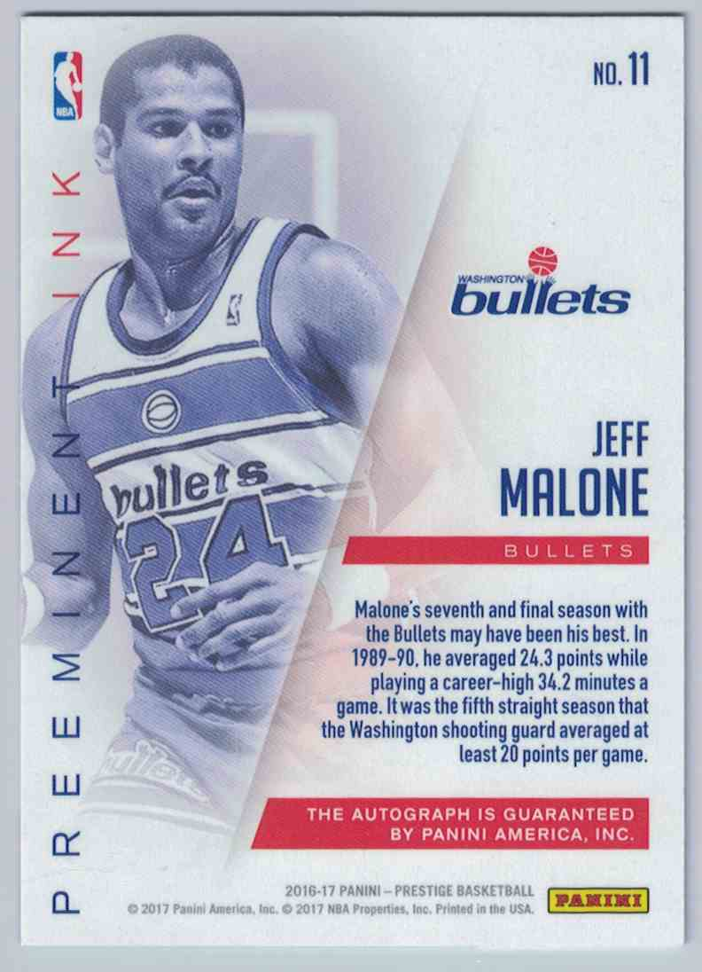 2016 17 Panini Prestige Preeminent Ink Jeff Malone Washington