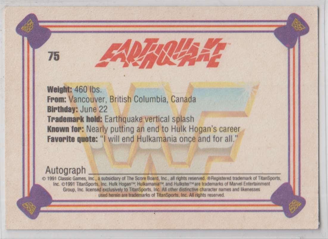 1991 Classic WWF Superstars Earthquake #75 card back image