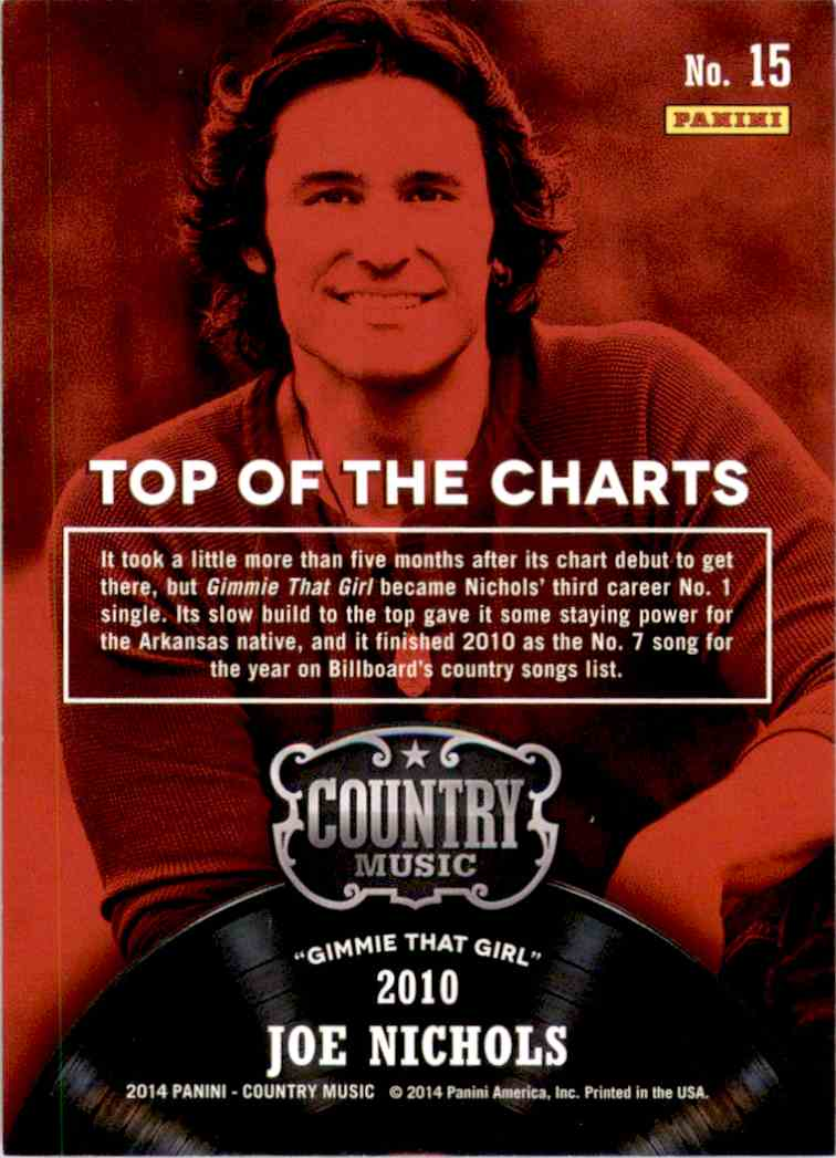 2015 Country Music Top Of The Charts Purple Joe Nichols #15 card back image