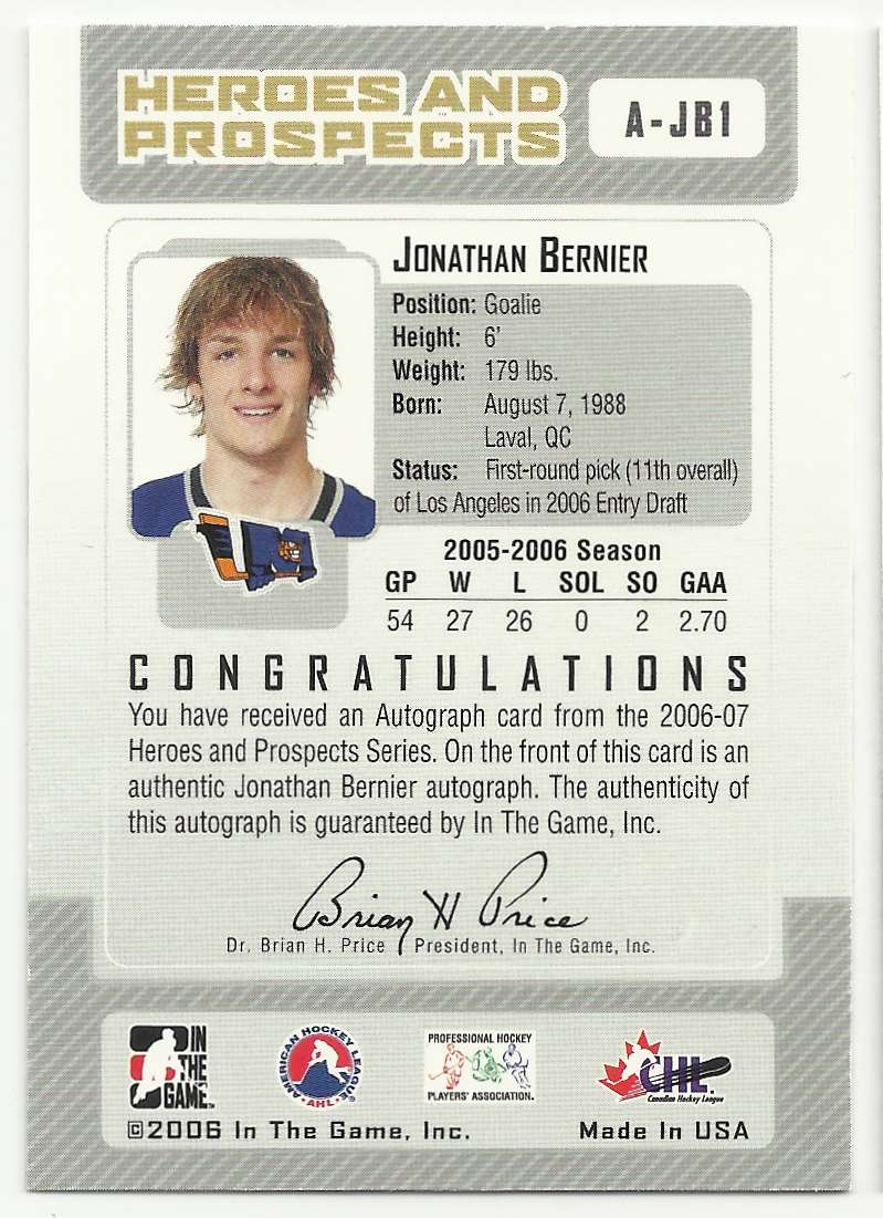 2006-07 In The Game Heroes And Prospects Autographs Jonathan Bernier #A-JB1 card back image