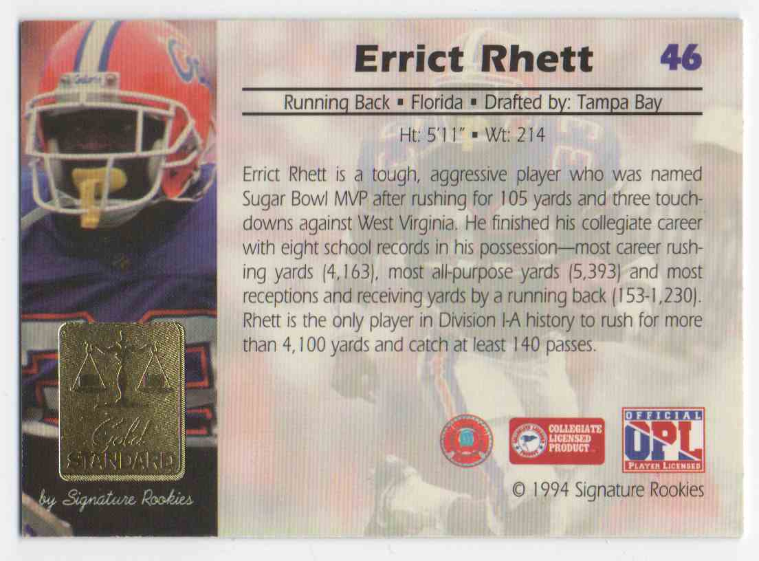 1994 Signature Rookies Gold Standard Errict Rhett #46 card back image