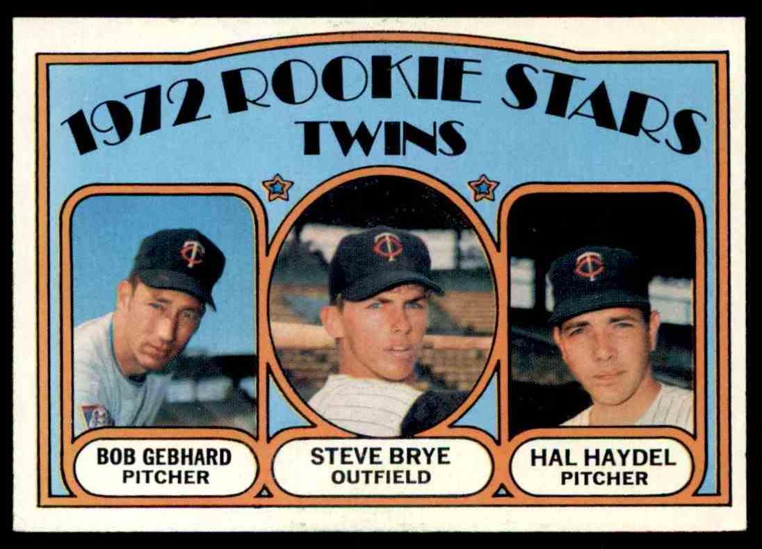 1972 Topps Bob Gebhard, Steve Brye , Hal Haydel #28 card front image