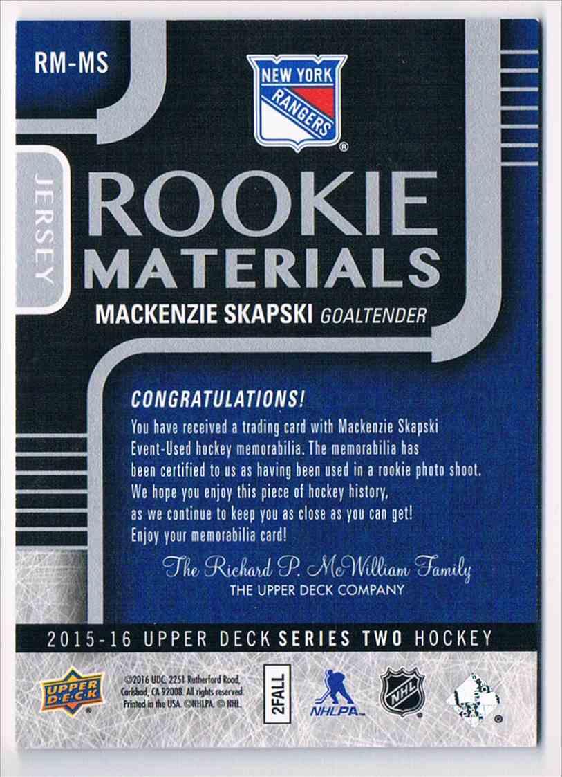 2015-16 Upper Deck Rookie Materials MacKenzie Skapski #RM-MS card back image