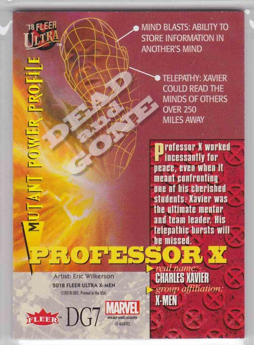 2018 Fleer Ultra X-Men Dead And Gone Professor X #DG7 card back image