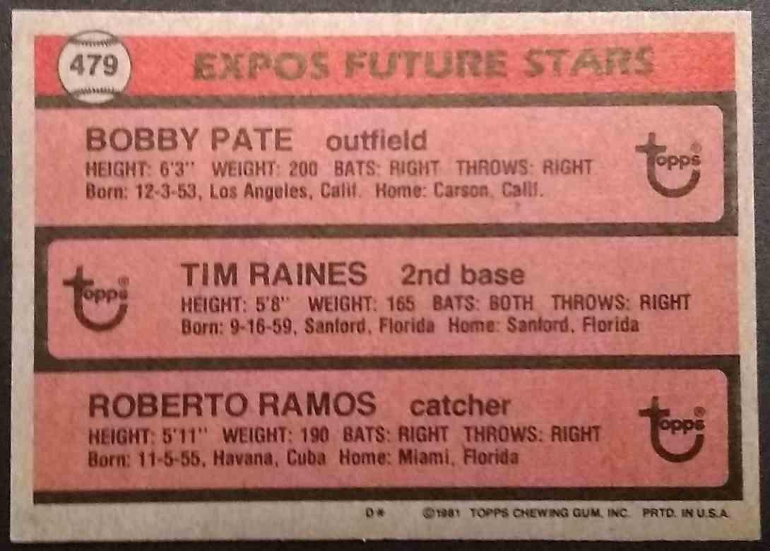 1981 Topps Tim Raines Bobby Ramos Bob Pate #479 card back image