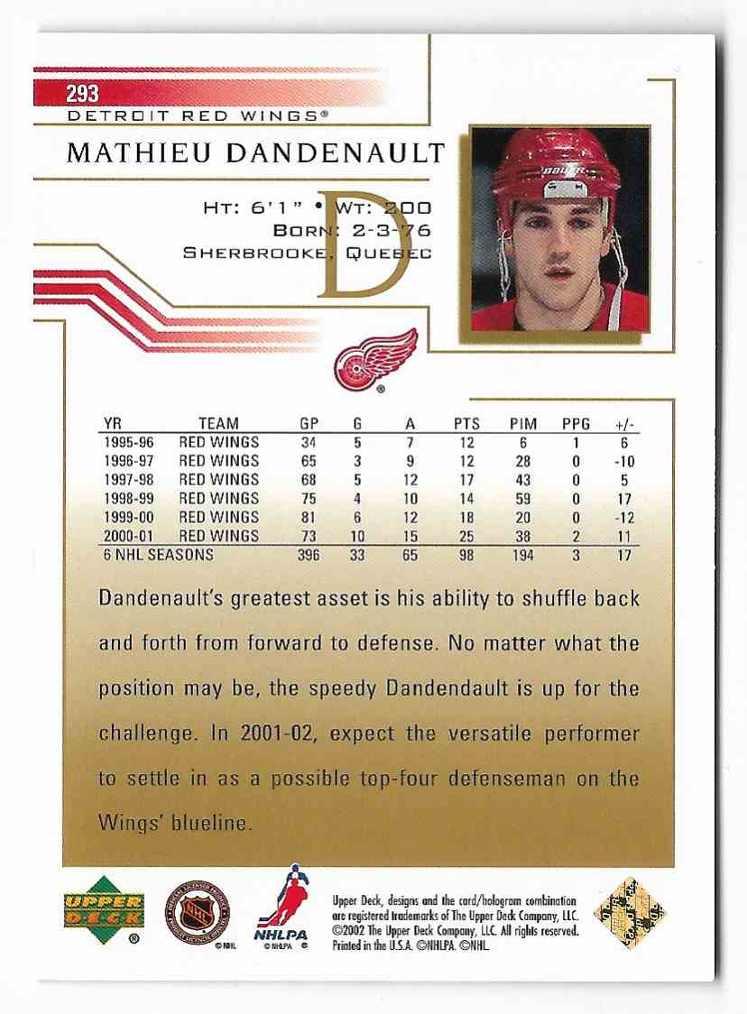 2001-02 Upper Deck Mathieu Dandenault #293 card back image