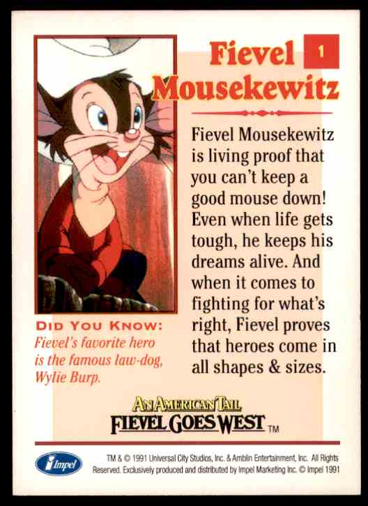 1991 An American Tail Fievel Mousekewitz #1 card back image