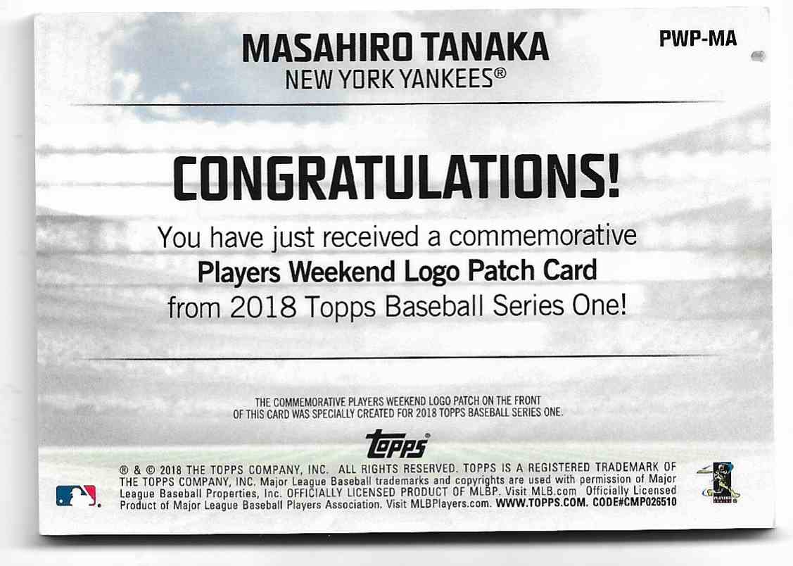 2018 Topps Masahiro Tanaka - Logo Patch Card - New York Yankees - Mint #PWP-MA card back image