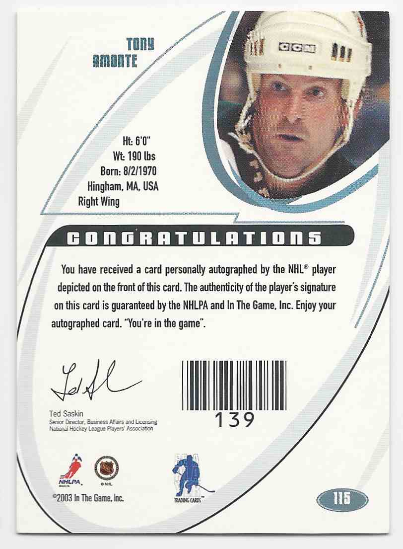 2002-03 Be A Player Signature Series Autographs (The Final Vault) Tony Amonte #115 card back image