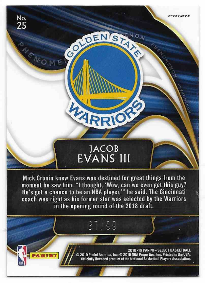 2018-19 Panini Select Phenomenon Prizms Silver Jacob Evans III #25 card back image