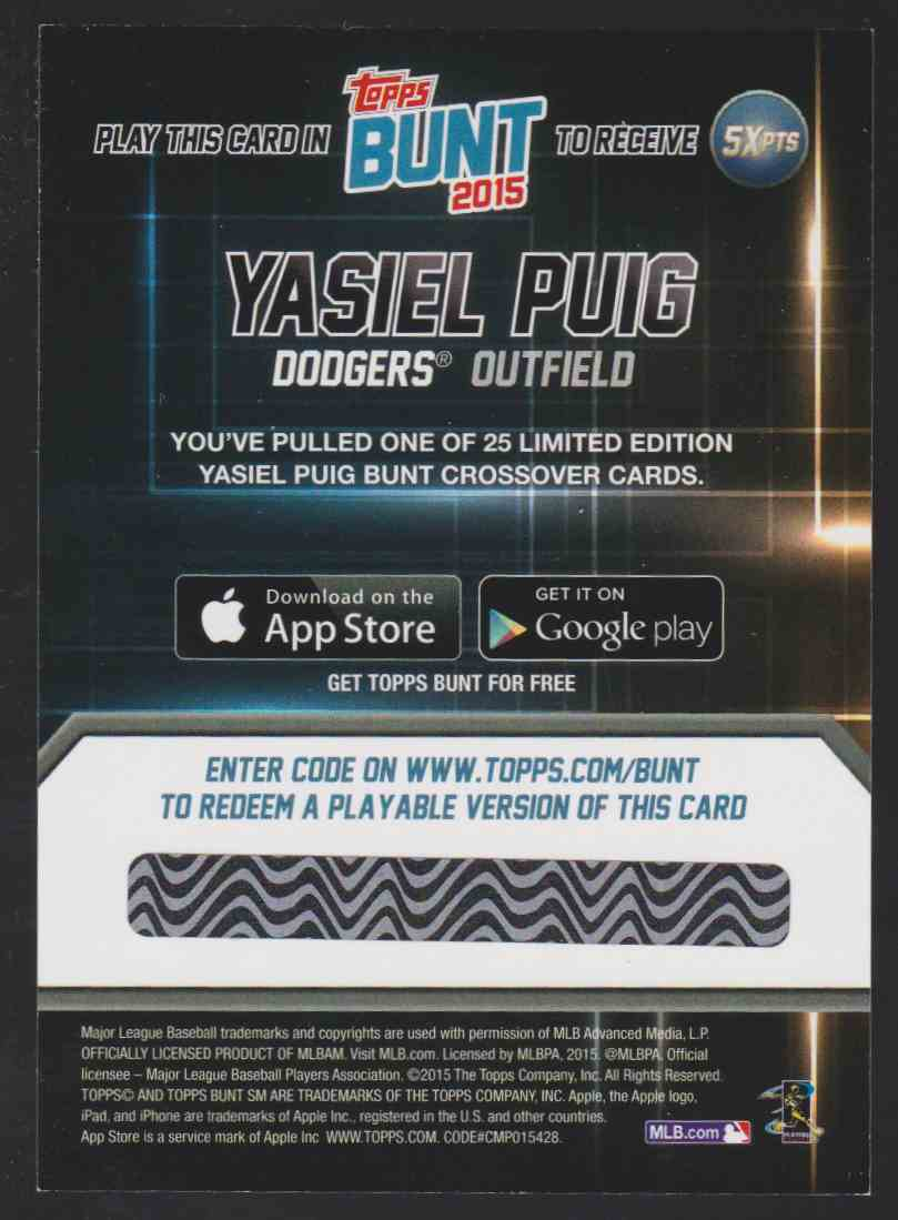 2015 Topps Bunt Player Code Card Yasiel Puig #YP card back image