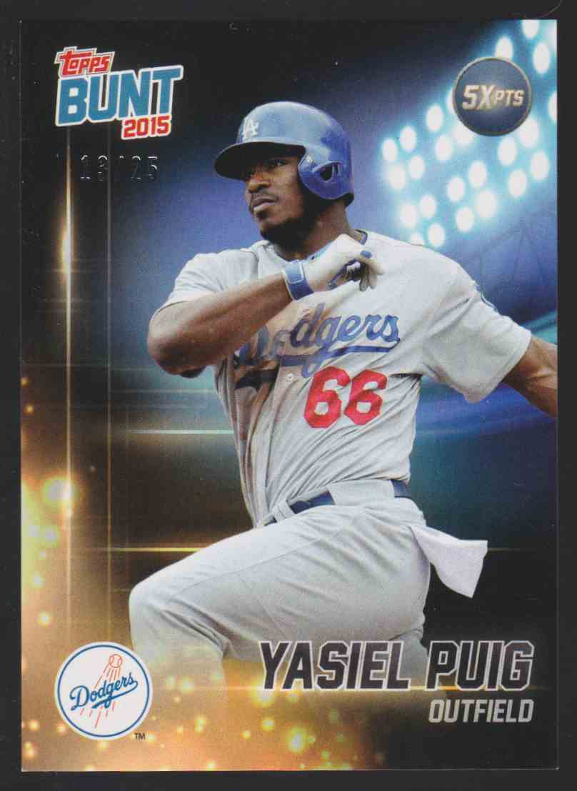 2015 Topps Bunt Player Code Card Yasiel Puig #YP card front image