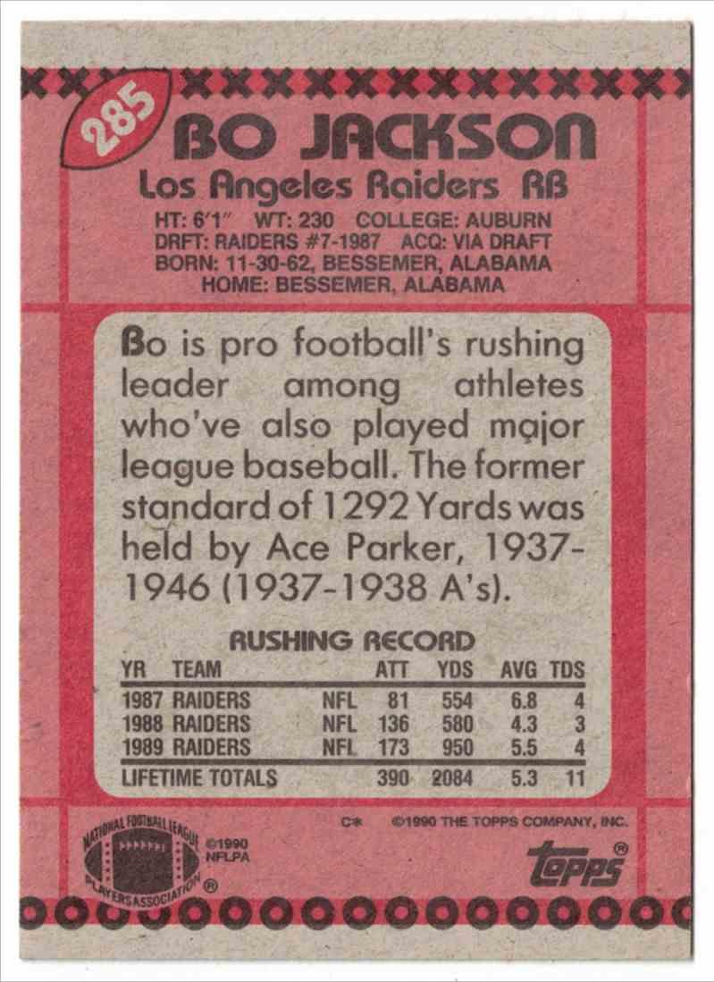 1990 Topps Bo Jackson #285 card back image