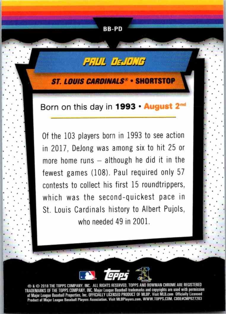 2018 Bowman Chrome Bowman Birthdays Paul DeJong #BB-PD card back image