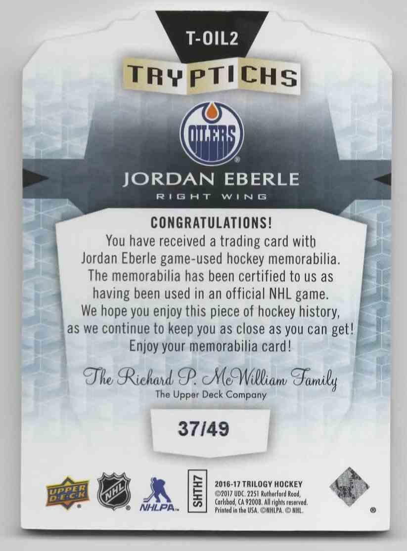 2016-17 Upper Deck Trilogy Jordan Ebrle #T-OIL2 card back image