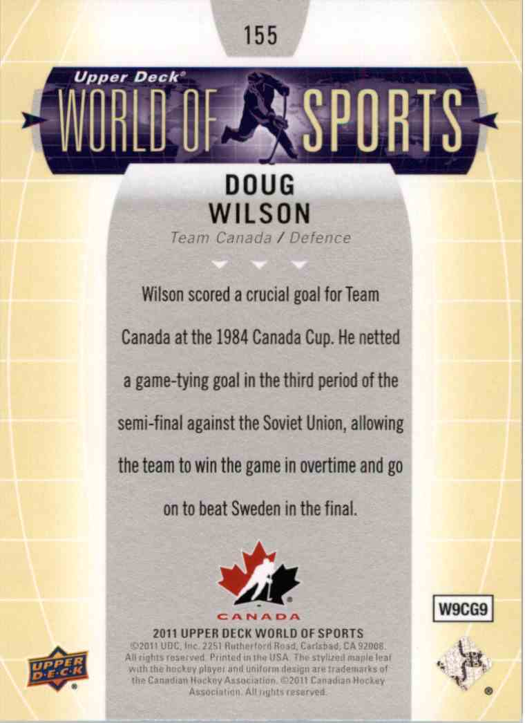 2011 Upper Deck World Of Sports Doug Wilson #155 card back image