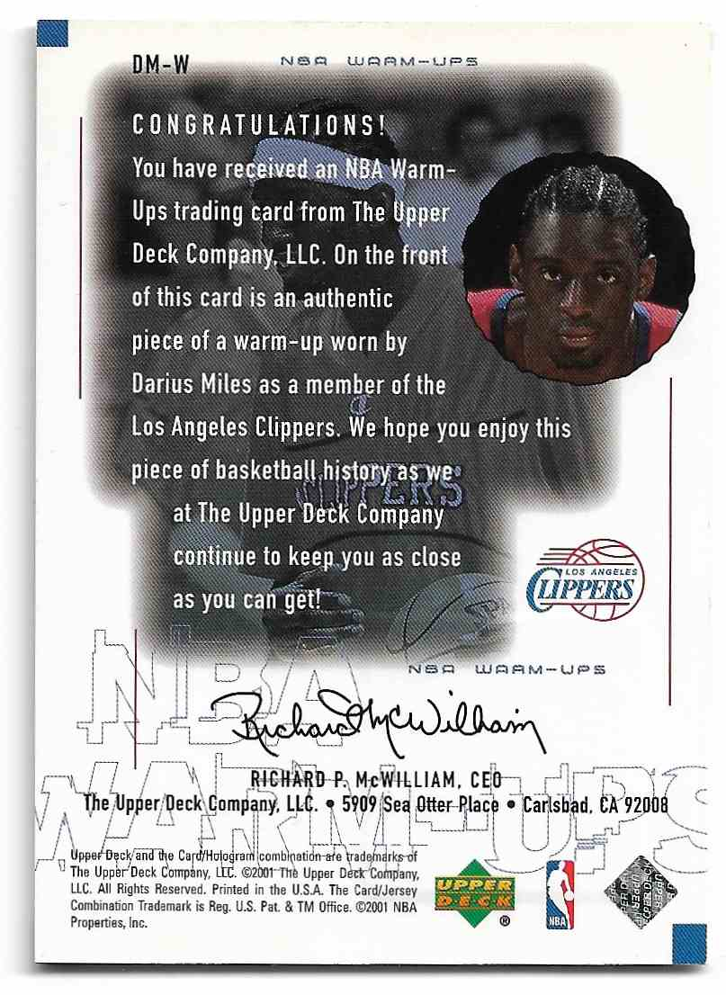 2000-01 Upper Deck Encore Darius Miles #DM-W card back image