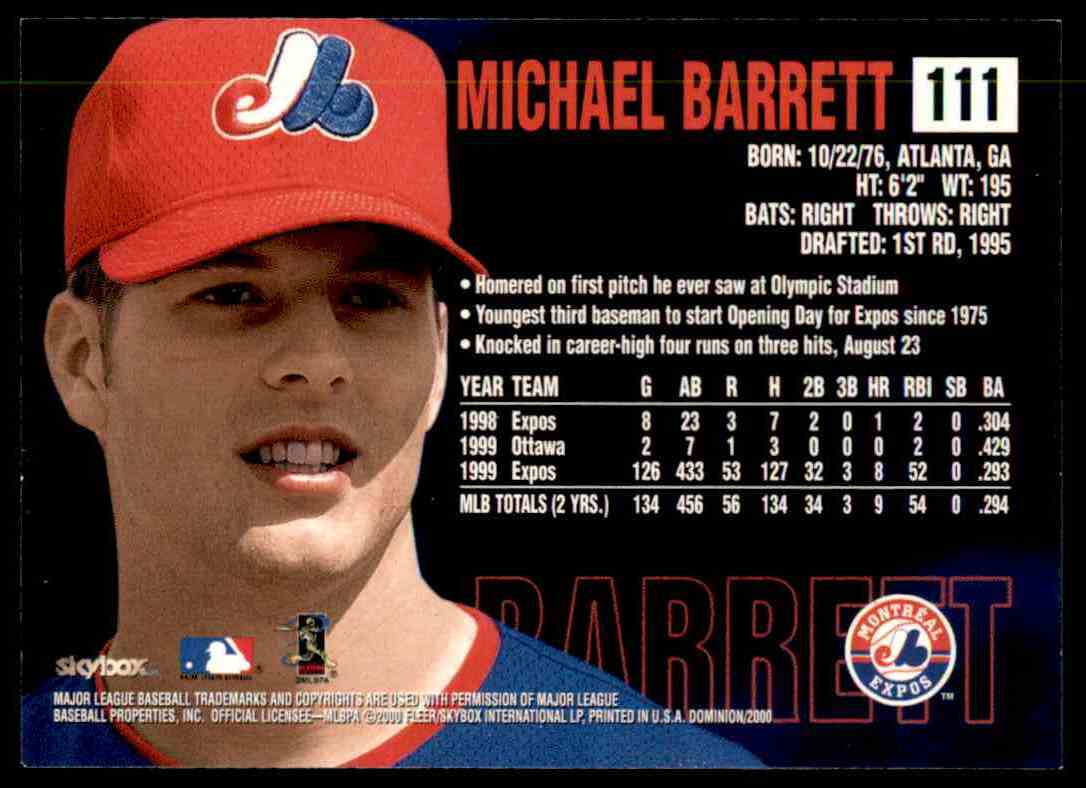 2000 SkyBox Dominion Michael Barrett #111 card back image