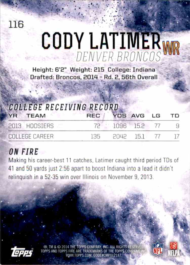 2014 Topps Fire Cody Latimer RC #116 card back image