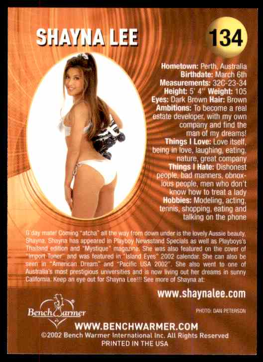 2002 Bench Warmer Shayna Lee #134 card back image