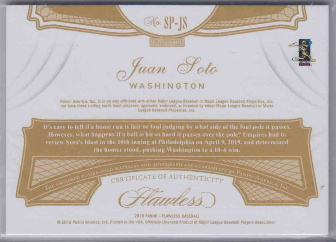 2019 Panini Flawless Signature Patches Gold Juan Soto #SP-JS card back image