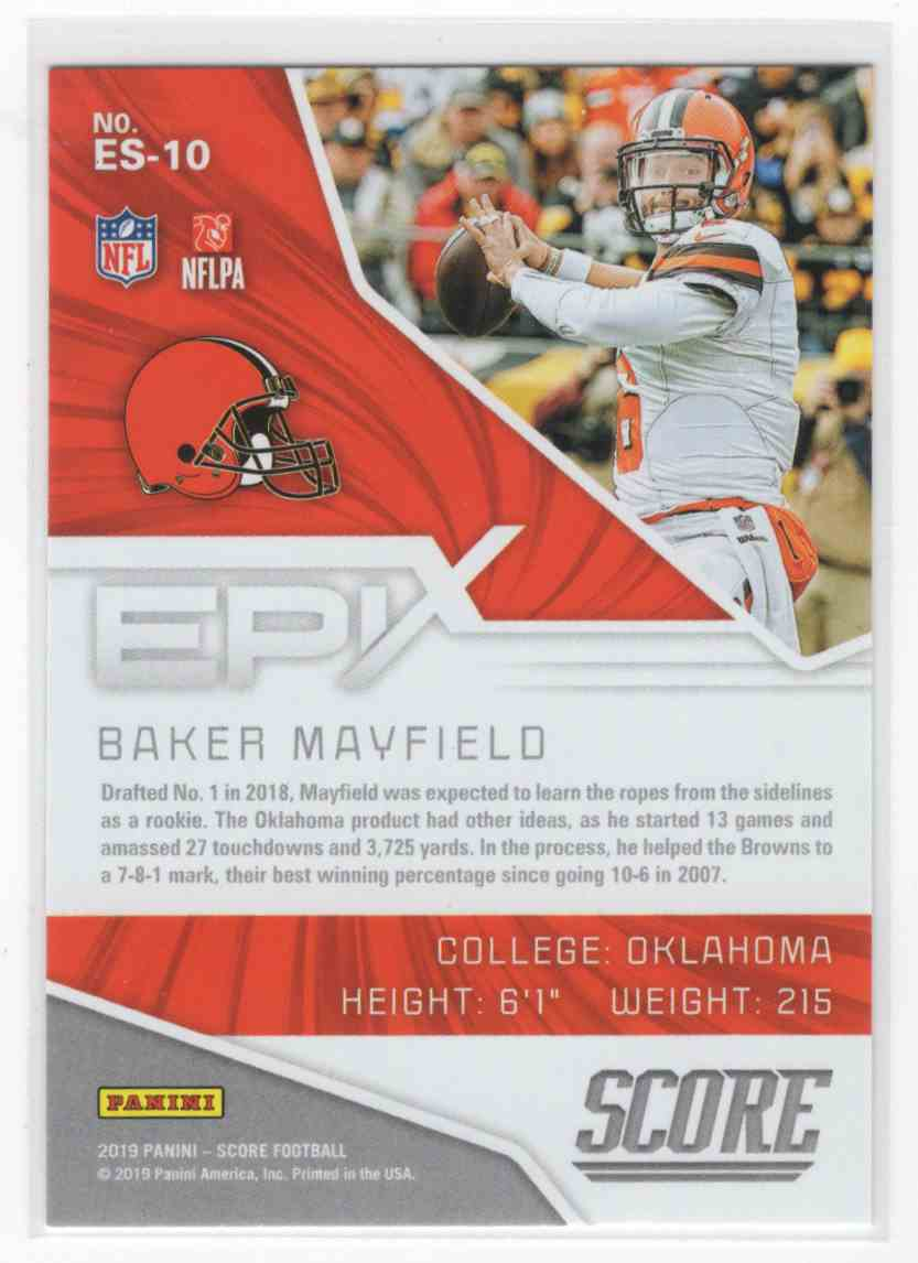 2019 Panini Score Baker Mayfield #ES-10 card back image