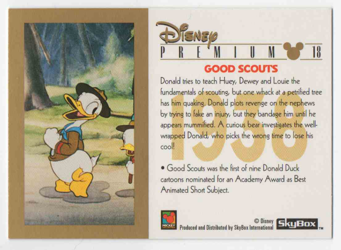 1995 Skybox Disney Premium Donald Duck #18 card back image