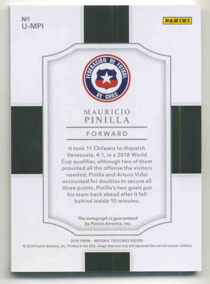2018 Panini National Treasures Unparalleled Autographs Redemption Mauricio Pinilla #U-MPI card back image