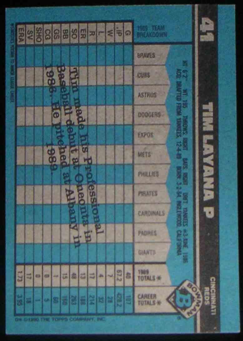 1990 Bowman Tim Layana #41 card back image