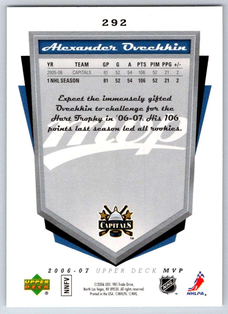2006-07 Upper Deck MVP Alexander Ovechkin #292 card back image