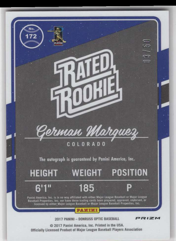 2017 Panini Donruss Optic Rated Rookie German Marquez #172 card back image