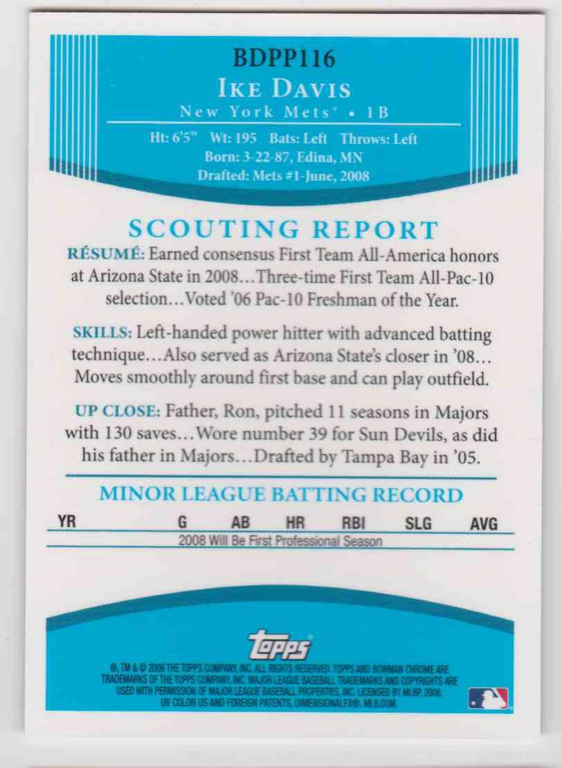 2008 Bowman Chrome Draft Prospects Autograph Ike Davis #BDPP126 card back image