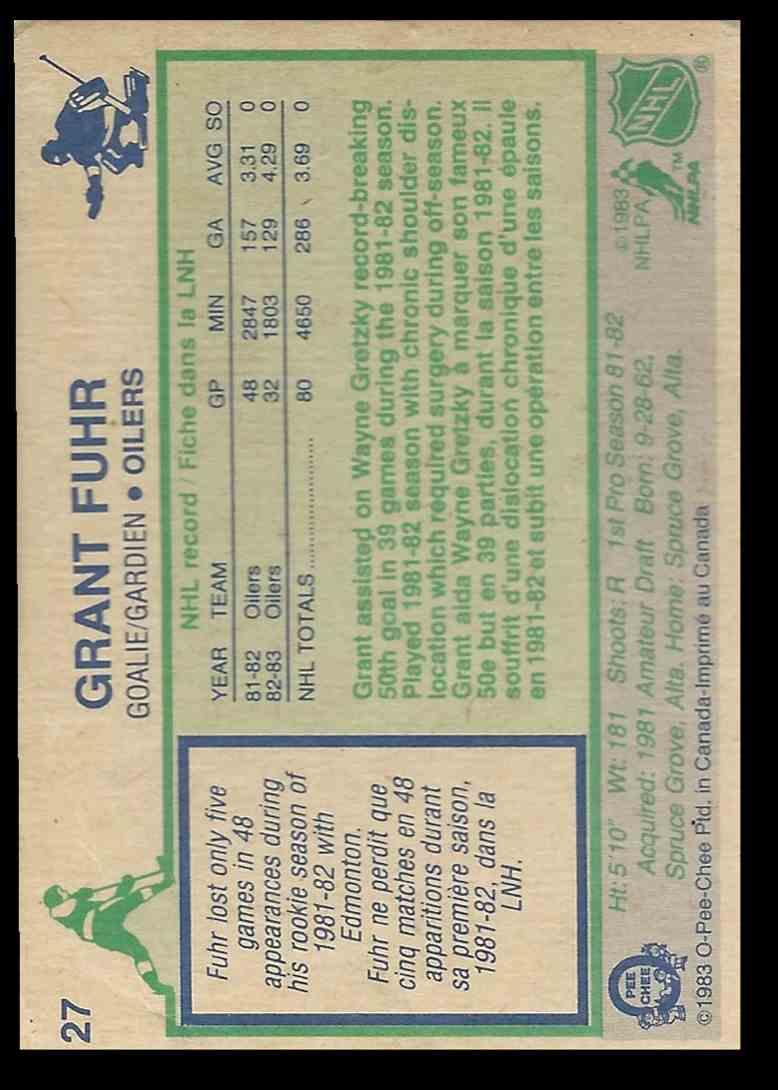 1983 84 O Pee Chee Grant Fuhr 27 On Kronozio