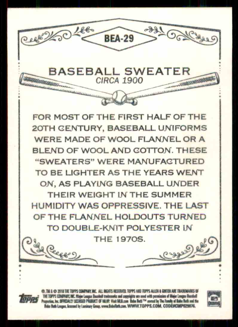 2018 Topps Allen & Ginter Equipment Of The Ages Baseball Sweater #BEA-29 card back image