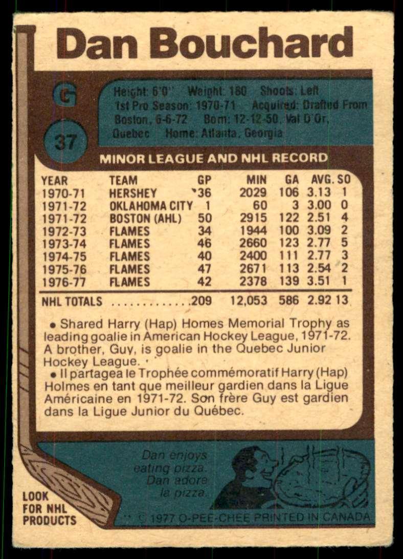 1977-78 OPC Dan Bouchard #37 card back image