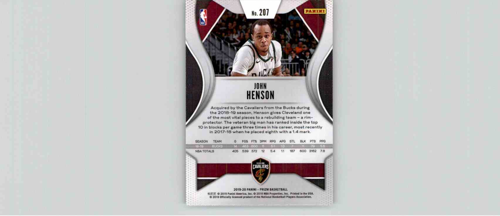 2019-20 Panini Prizm Basketball Prizm John Henson #207 card back image