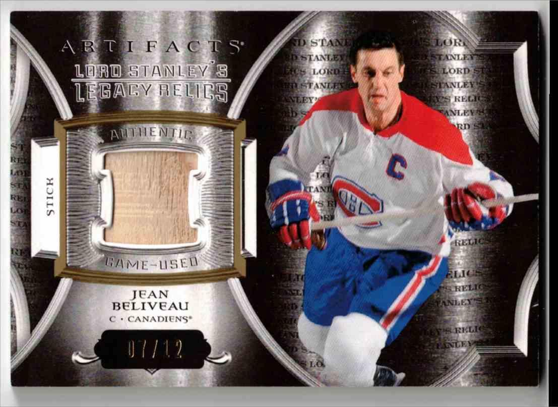 2015-16 Upper Deck Artifacts Lord Stanley's Legacy Relics Gold Jean Beliveau #LSLR-JB card front image