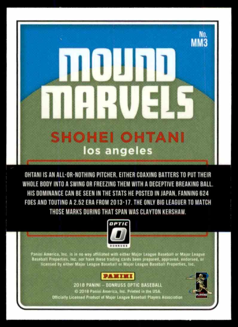 2018 Donruss Optic Mound Marvels Shohei Ohtani #MM3 card back image