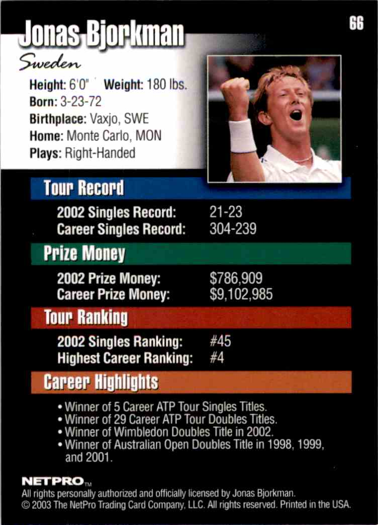 2003 NetPro Jonas Bjorkman RC #66 card back image