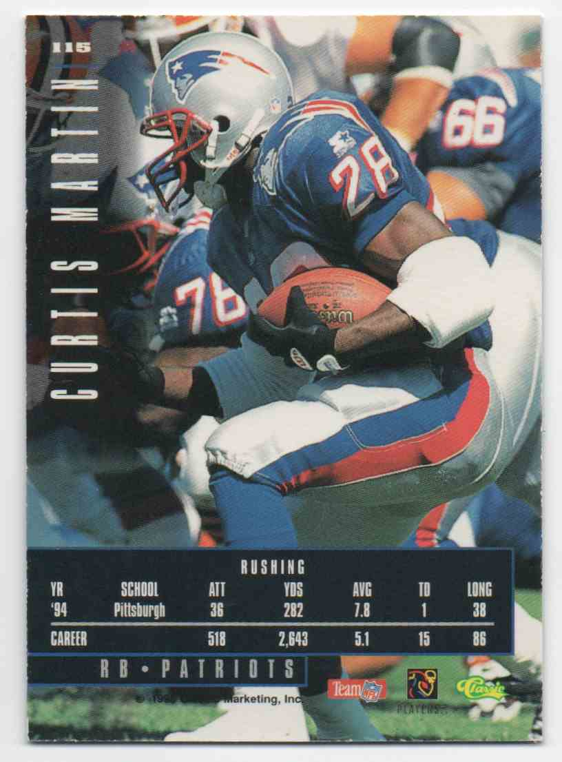 1995 Classic Images Limited Curtis Martin #115 card back image