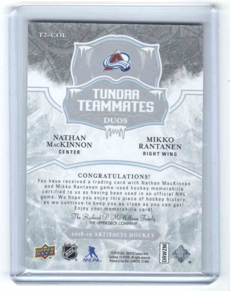 2018-19 Upper Deck Artifacts Trundra Teammates Duo Materials Nathan Mackinnon, Mikko Rantanen #T2-COL card back image