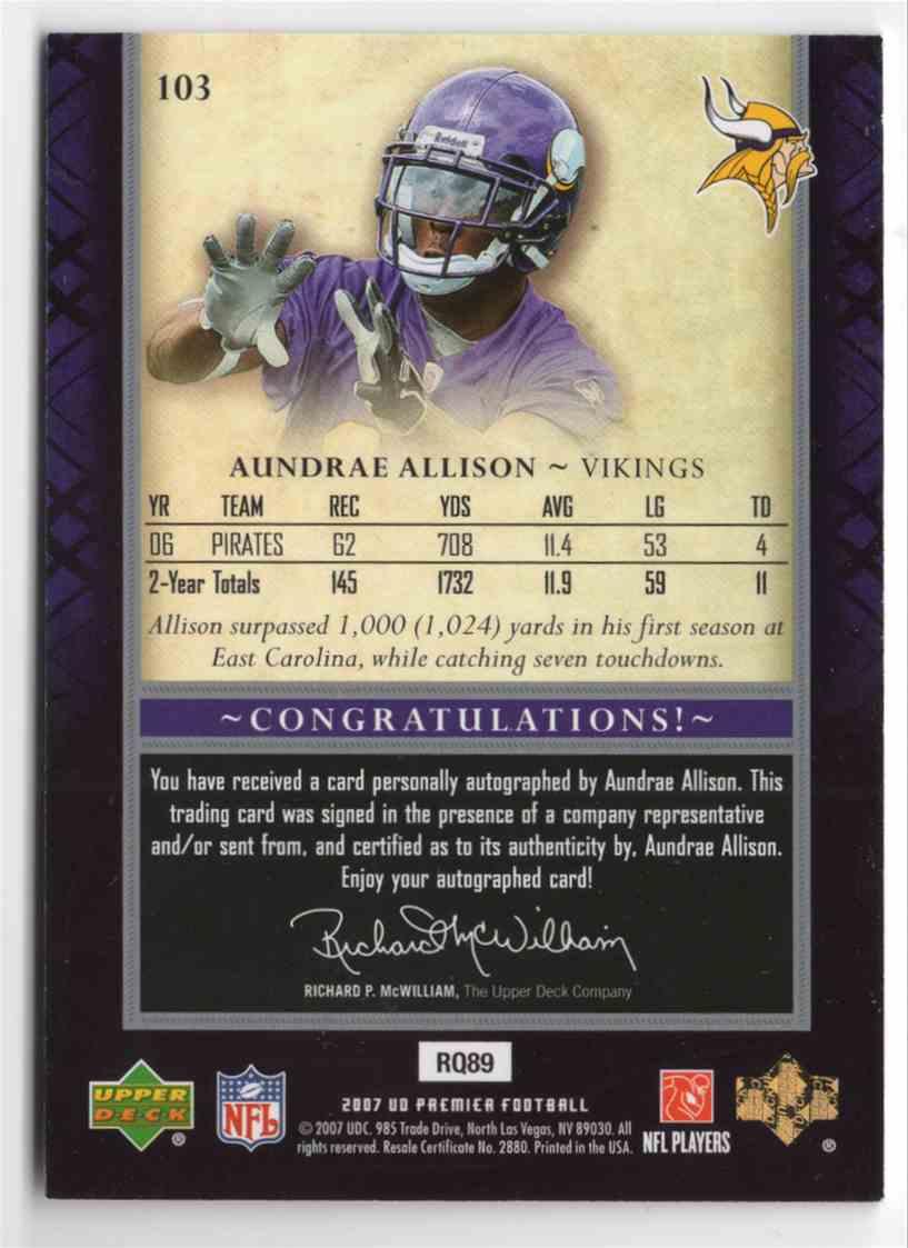 2007 Upper Deck Premier Aundrae Allison #103 card back image