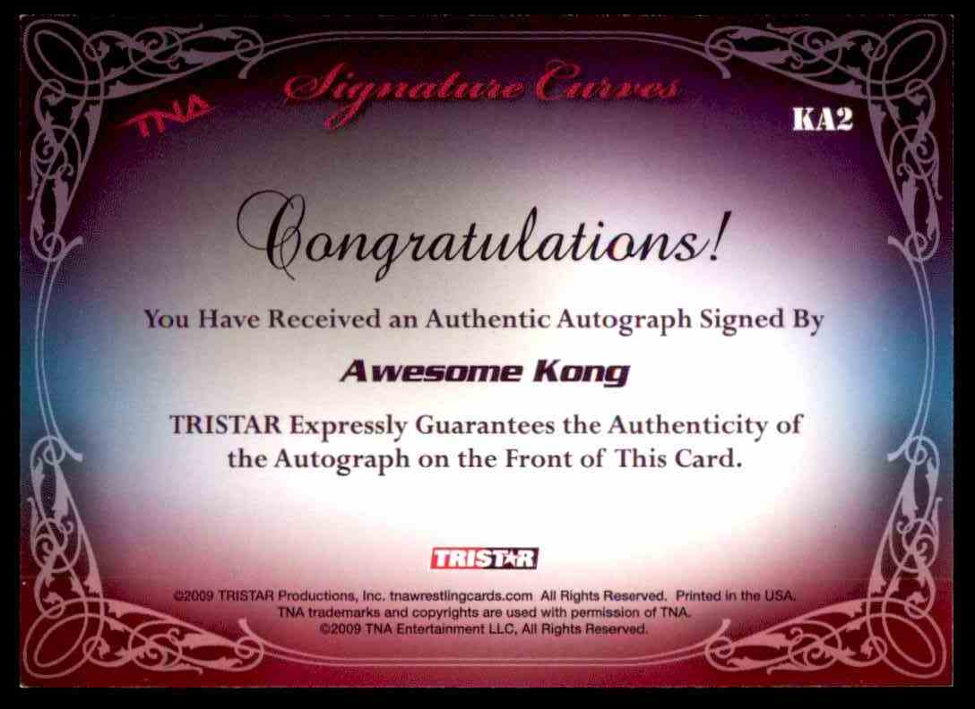 2009 Tristar Tna Knockouts Signature Curves Awesome Kong #KA2 card back image