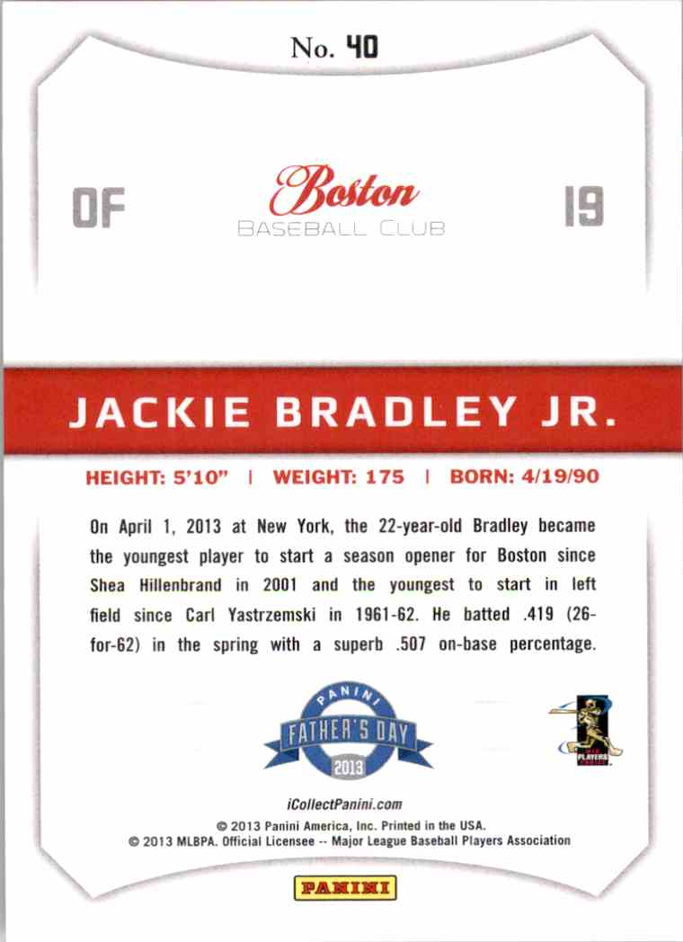 2013 Panini Father's Day Cracked Ice Jackie Bradley JR. #40 card back image