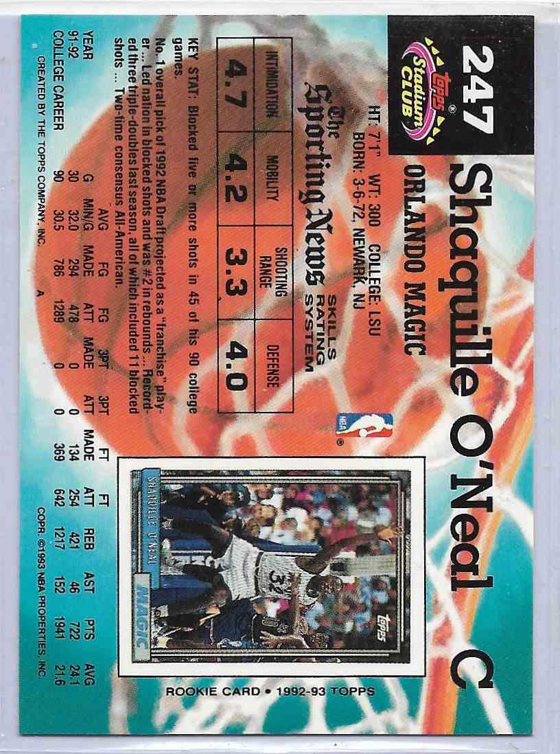 1993-94 Topps Stadium Club Shaquiile O`Neal #247 card back image