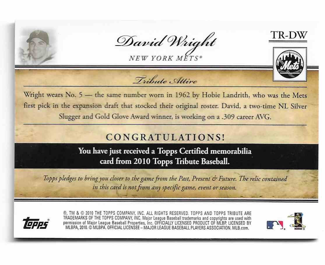 2010 Topps Tribute Topps Tribute Gold Refractor David Wright #TR-DW card back image